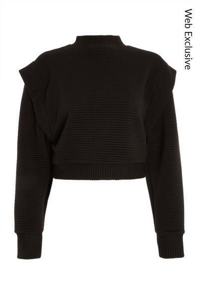 Black Quilted Ribbed Jumper